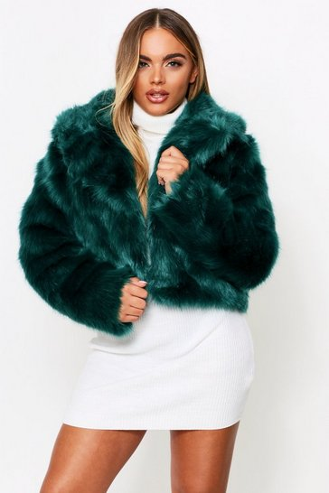 Emerald Faux Fur Cropped Jacket