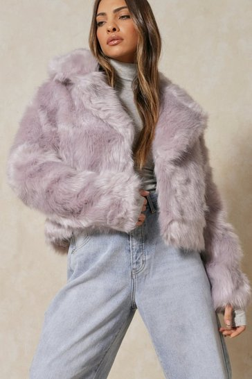 Grey Faux Fur Cropped Jacket