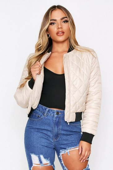 Womens Stone Quilted Oversized Bomber Jacket