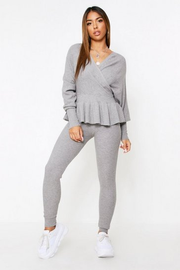 Grey Wrap Front Batwing Knitted Lounge Set