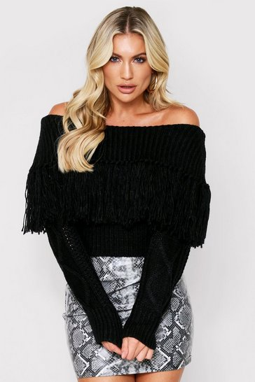 Black Off The Shoulder Fringe Tassel Jumper