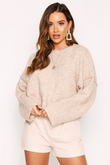 Womens Beige Oversized Crew Neck Jumper