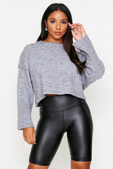 Womens Grey Oversized Crew Neck Jumper