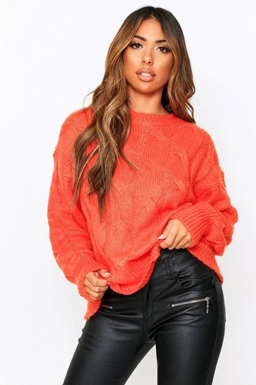 Burnt orange Crew Neck Cable Knit Jumper