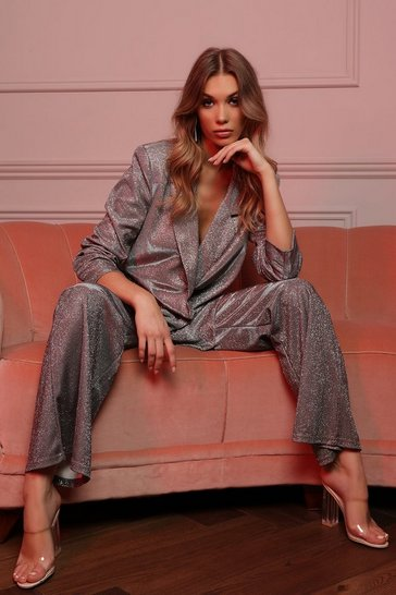 Womens Silver Glitter Oversized Suit Jacket