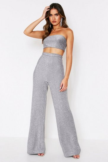 Silver Glitter Bandeau + Flared Trouser Co-Ord