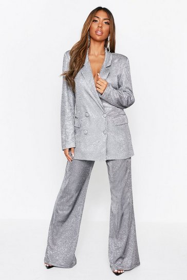 Womens Silver Glitter High Waisted Suit Trousers