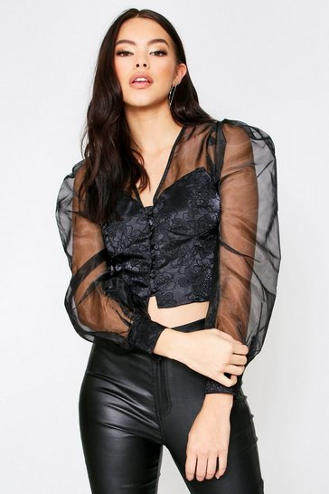 Black Puff Shoulder Organza Button Front Blouse