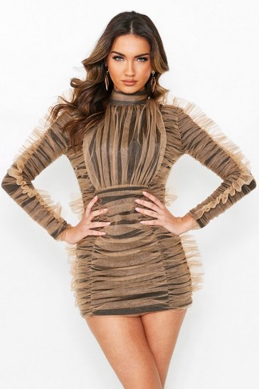 Womens Camel Ruched High Neck Mesh Dress