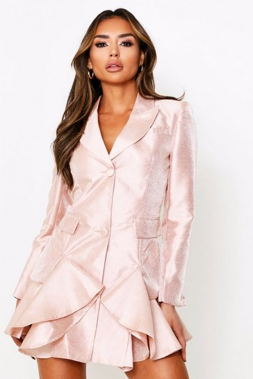 Womens Rose gold Metallic Frill Hem Tailored Blazer Dress