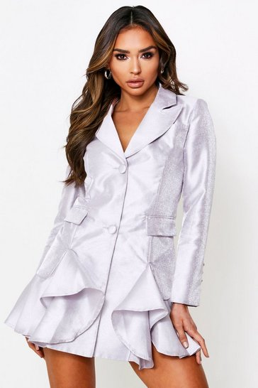 Silver Metallic Frill Hem Tailored Blazer Dress