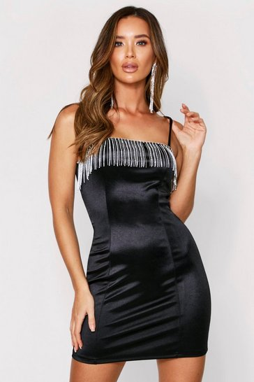 Womens Black Diamante Tassel Ruched Back Satin Dress