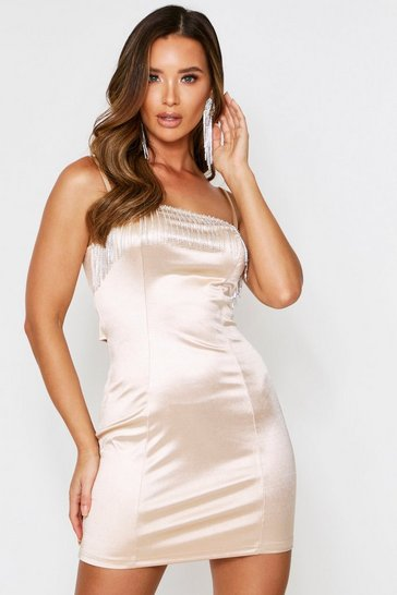 Womens Champagne Diamante Tassel Ruched Back Satin Dress