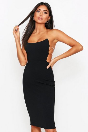 Black Clear Strap Square Neck Crepe Dress