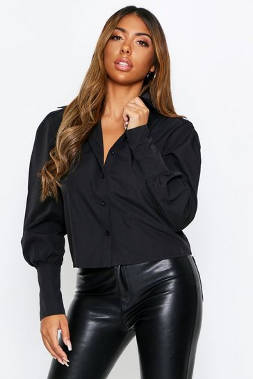 Womens Black Puff Shoulder Shirt