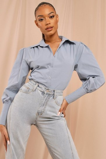 Blue Puff Shoulder Shirt