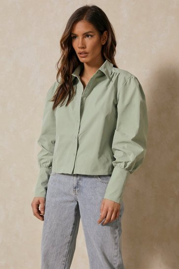 Sage Puff Shoulder Shirt