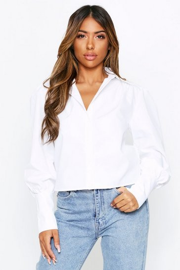 Womens White Puff Shoulder Shirt