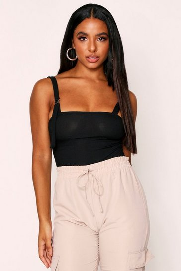 Black D-Ring Square Neck Ribbed Bodysuit