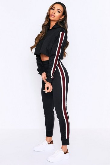 Womens Black Tape Side Hooded Lounge Set