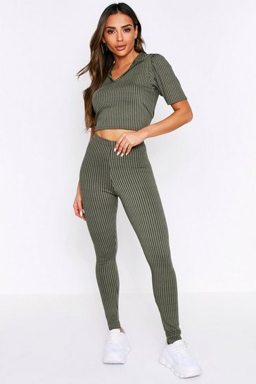 Womens Khaki Cropped Hooded Leggings Lounge Set