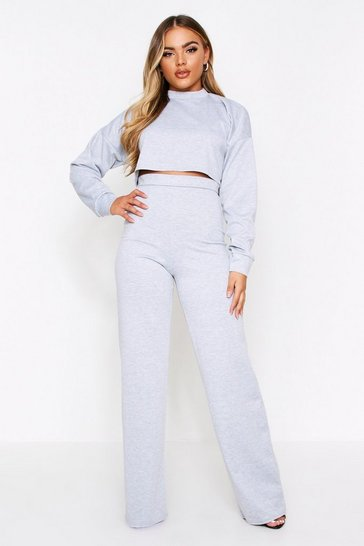 Womens Grey Wide Band Longsleeve Loungeset