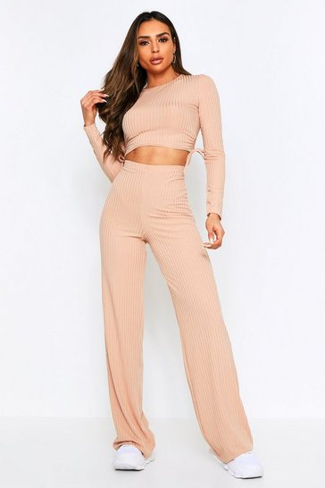 Womens Camel Ruched Side Wide Leg Lounge Set