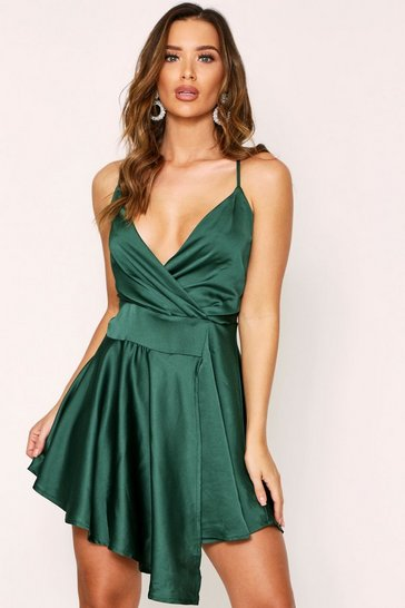 Womens Emerald Satin Draped Dress