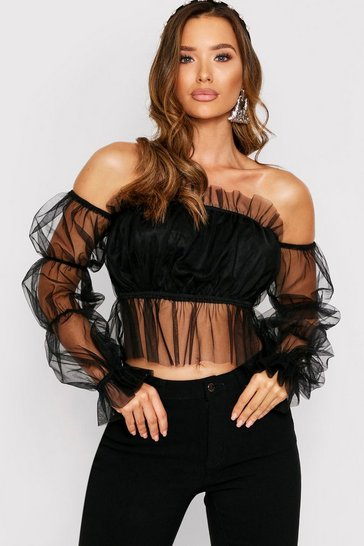 Womens Black Frill Hem Organza Bardot Top