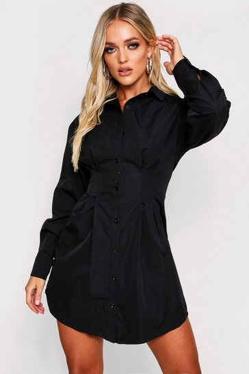 Womens Black Fitted Waist Balloon Sleeve Skater Shirt Dress