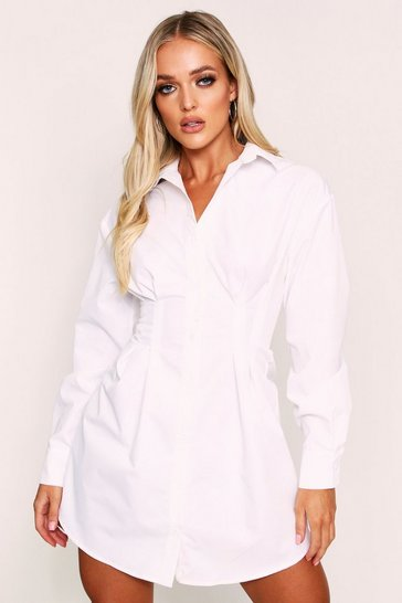 Womens White Fitted Waist Balloon Sleeve Skater Shirt Dress