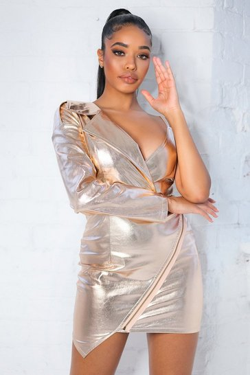 Rose gold Metallic Leather look Asymmetric Blazer Dress