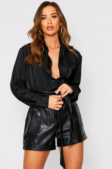 Black Satin Chiffon Stripe Shirt