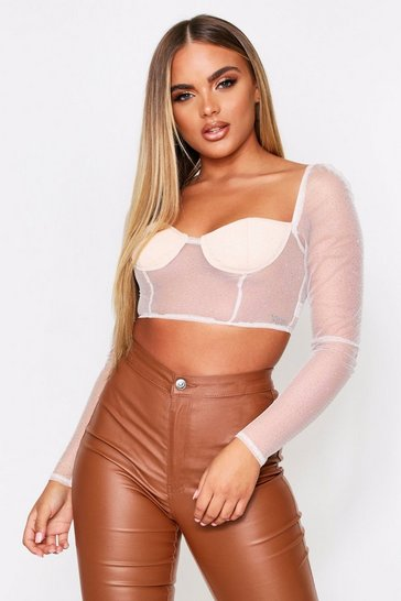 Nude Glitter Mesh Long Sleeve Cupped Top