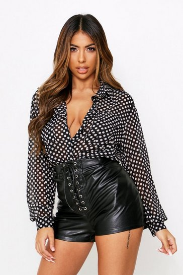 Blackwhite Polka Dot Sheer Pocket Shirt