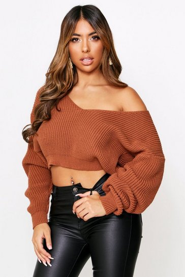 Womens Terracotta Slouchy V Neck Knitted Cropped Knitted Jumper