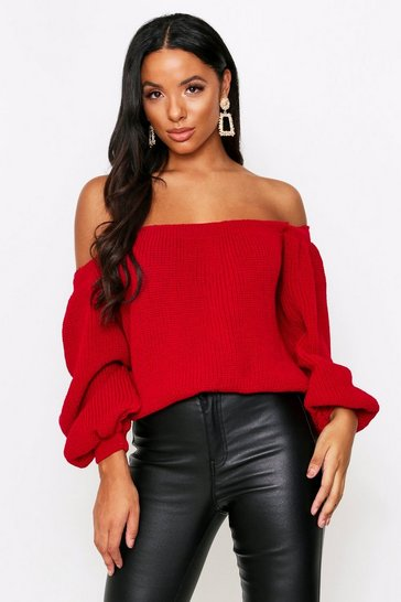 Womens Red Bardot Balloon Sleeve Cropped Knitted Jumper