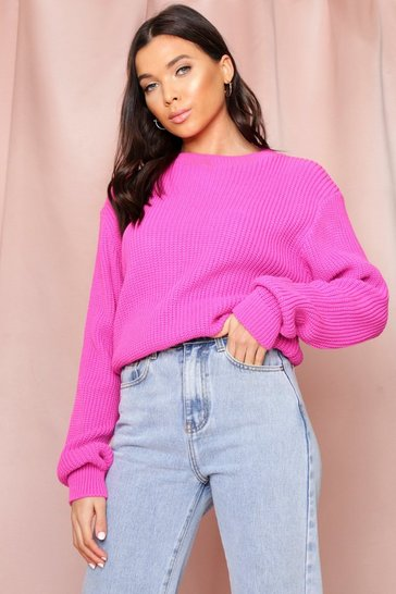 Fuchsia Crew Neck Knitted Jumper