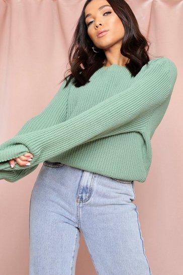 Sage Crew Neck Knitted Jumper