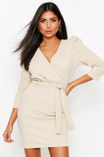 Womens Beige Puff Sleeve Belted Dress