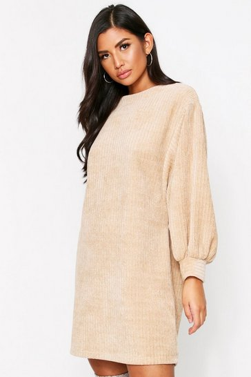 Womens Beige Chenille Balloon Sleeve Jumper Dress