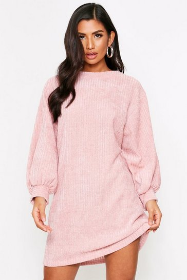 Womens Pink Chenille Balloon Sleeve Jumper Dress
