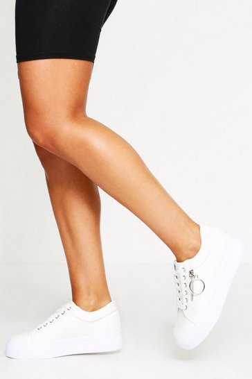 Womens White Snake Panel Flatform Trainer/Pump