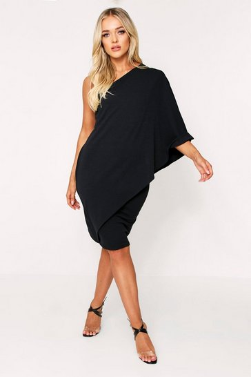 Black Off Shoulder Waterfall Dress