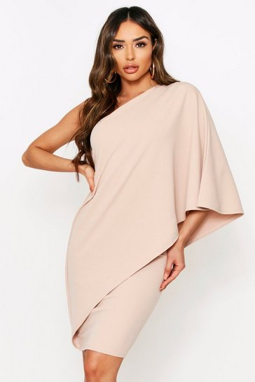 Stone Off Shoulder Waterfall Dress