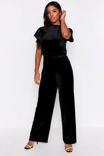 Black Velour Wide Leg Lounge Set