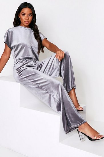 Grey Velour Wide Leg Lounge Set