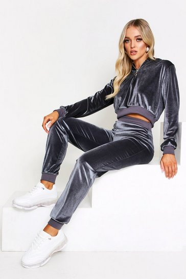 Womens Grey Velour Zip Front Lounge Set