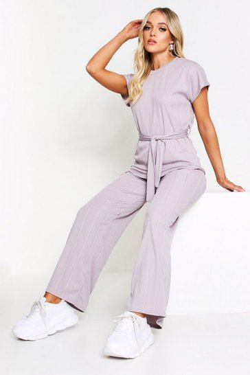 Womens Grey Bandage Longline Lounge Set