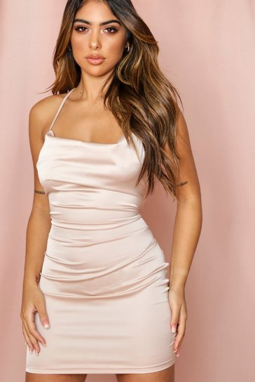 Nude satin lace up back bodycon mini dress